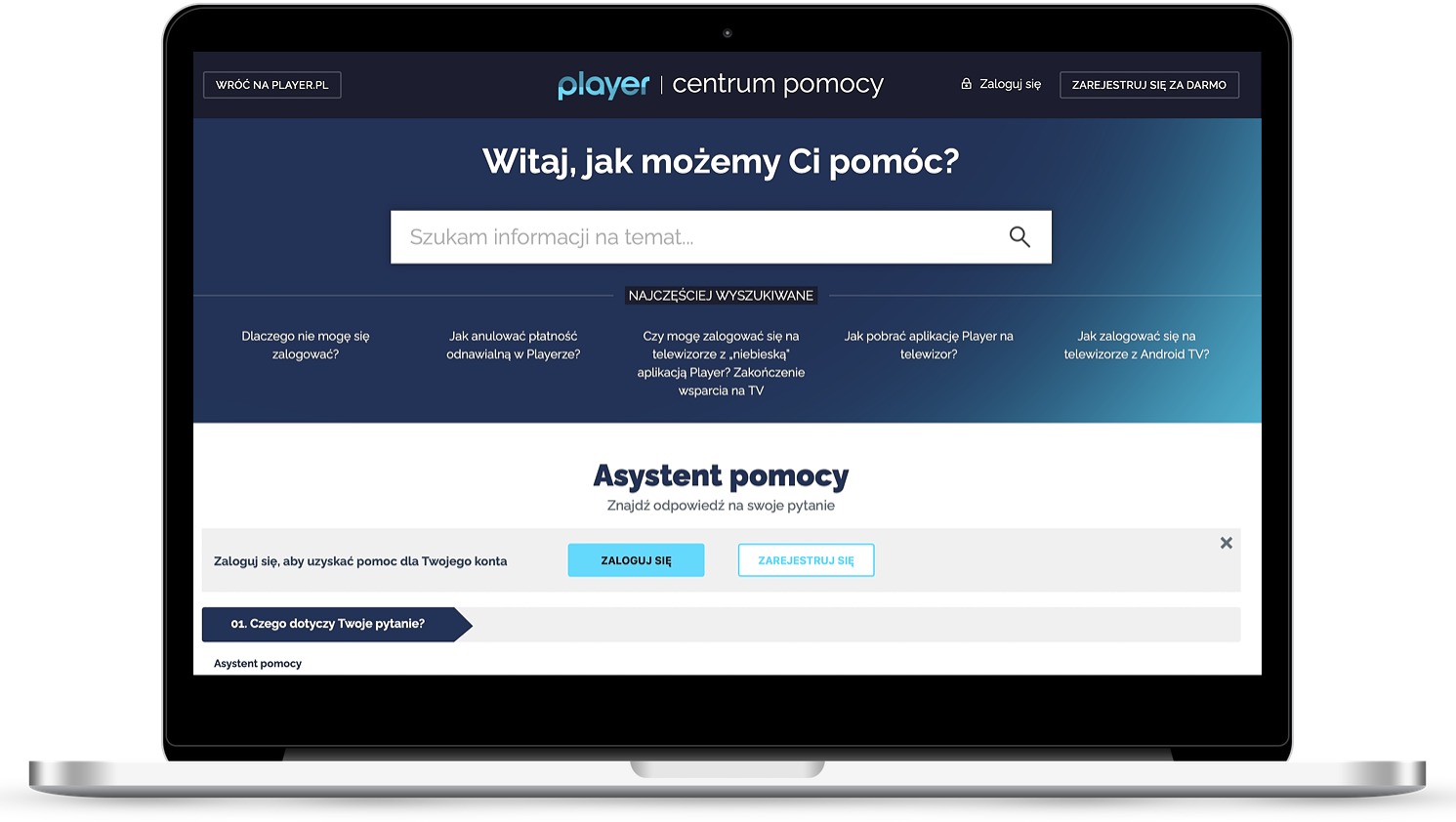 Centrum Pomocy Player